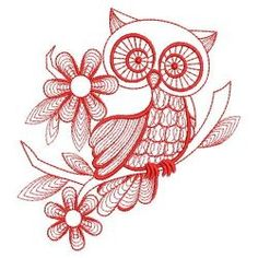 Redwork Owls 02(Sm) machine embroidery designs