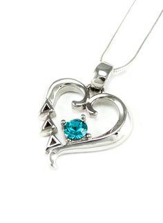 Delta Delta Delta Sterling Silver Heart Pendant with Swarovski™ Blue Crystal