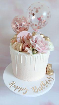 Pretty 70th Birthday Cake