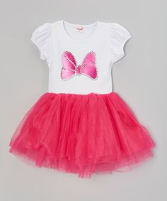 Hot Pink & White Bow Dress - Infant, Toddler & Girls