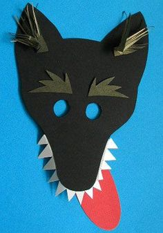 wolf mask, a mask for disguise - - Wolf Maske, Animal Mask Templates, Pig Crafts, Puppets For Kids, Animal Masks, Little Pigs, Camping With Kids, Preschool Art, Diy Costumes