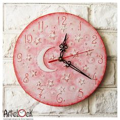 The Pink Moon and Stars Wall Clock Home Decor for Children Baby Kid Girl Nursery Playroom