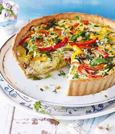 Feta, Quiche Recipes, Dinner Menu, Weight Watchers Meals, Vegetable Pizza, Food Inspiration, Tapas, Food And Drink, Veggies