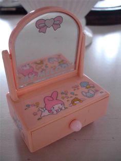 Vintage Sanrio My Melody Japan Small Trinket Dresser Mirror 1976 1978 Box