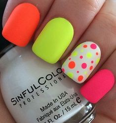 Free Style #neonnails For #Summer #summernails2018