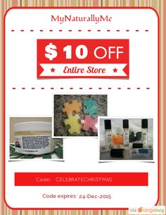 We are happy to announce $10.00 OFF our Entire Store. Coupon Code: CELEBRATECHRISTMAS Min Purchase: 75.00 Expiry: 24-Dec-2015 Click here to view all products:  Click here to avail coupon: https://orangetwig.com/shops/AAAWWt3/campaigns/AAByckt?cb=2015012&sn=MyNaturallyMe&ch=pin&crid=AAByclK