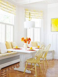 I love these yellow chairs!  They are the perfect shade of yellow.  From Coastal-Inspired Interior Design Ideas