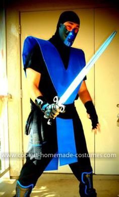 Homemade Mortal Kombat Sub Zero Costume: I made this Homemade Mortal Kombat Sub Zero Costume over a period of a couple months, utilizing Ebay and Amazon to order the various parts. The tabards