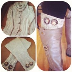 DIY boot legwarmers. Now I know what I can do with the sweater sleeves after I cut out the parts to make mittens!