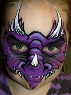 When you think about face painting designs, you probably think about simple kids face painting designs. Many people do not realize that face painting designs go beyond the basic and simple shapes that we see on small children. Dinosaur Face Painting, Monster Face Painting, Dragon Face Painting, Face Painting For Boys, Body Painting, Face Painting Tutorials, Face Painting Designs, Paint Designs, Animal Face Paintings