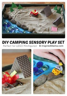 DIY Camping Sensory Play Set - Perfect for LEGO Minifigures! - at B-Inspired Mama Looking for fun sensory play for your little one? How about a camping theme? Check out this easy DIY Sensory Play Campsite - perfect with LEGO Minifigures! Camping Diy, Camping Crafts, Camping With Kids, Camping Ideas, Camping 2017, Camping Gadgets, Camping Checklist, Camping Hacks, Sensory Tubs
