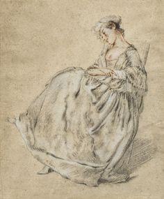 Jeune fille assise, 18th C, entourage de Jacques Andre Portail (1695-1759)