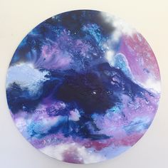 INDIGO MOON - Original abstract acrylic and Ink round canvas painting in indigo, violet, lilac, mauve by P Nicola Art