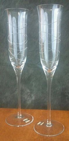 nambe toasting flutes | Vintage Mod Wedding Flutes Nambe Crystal Flutes Champagne