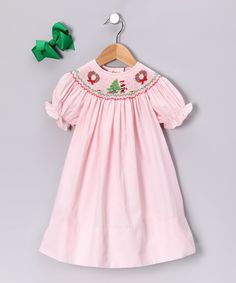 Take a look at this Rosalina Pink Wreath Bishop Dress & Green Bow - Infant, Toddler & Girls on zulily today!