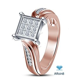 1.00 CT Princess Cut 14K Rose Gold Plated D/VVS1 Diamond Women's Engagement Ring #affordablebridaljewelry #WomensWeddingEngagementRing