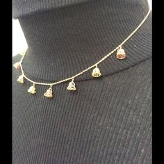 """Very pretty gold necklace and bracelet This set came from Thailand and has never been worn. Each gold bell holds a colored jewel. It is a delicate and feminine set. I don't know the karats but who cares, it's lovely :) necklace is 15"""" and the bracelet 7"""" Vintage Jewelry Necklaces"""