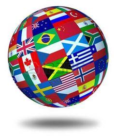 international soccer: Banderas del mundo esfera flotante y aislaron como un símbolo que representa la cooperación internacional global en el mundo de los negocios y Asuntos políticos.