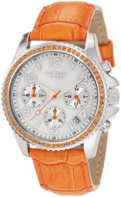Invicta Women`s IBI-10064-003  Chronograph Mother-Of-Pearl Dial Orange Leather Watch $148.50
