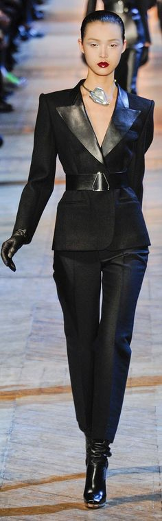 Yves Saint Laurent Fall 2012-I love this look! There's something so powerful about this outfit.
