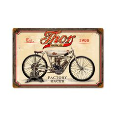 From the Classic Motorcycle licensed collection, this Thor vintage metal sign measures 18 inches by 12 inches and weighs in at 2 lb(s). We hand make all of our vintage metal signs in the USA using heavy gauge american steel and a process known as sublimation, where the image is baked into a powde...