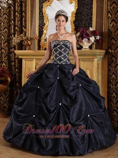 Popular Black Quinceanera Dress Strapless Beading Taffeta Ball Gown Plus Size - US$198.12