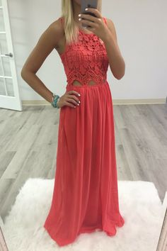 Hawaiian Babe Crochet Lace Bodice Coral Maxi Dress something different