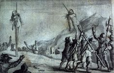 Impalement - Image of Catholic atrocities against Waldensians in 1655 from Samuel Morland's History of the Evangelical Churches of the Valleys of Piemont.