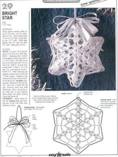 Star Christmas: crochet ornaments - with diagram by Jeroen En Franciska JonkmanChristmas crafts: crocheted Christmas ball and stars for Christmas tree Crochet Christmas tree ornaments pattern and step by step pictu. Crochet Christmas Decorations, Christmas Tree Pattern, Crochet Decoration, Crochet Christmas Ornaments, Christmas Crochet Patterns, Holiday Crochet, Crochet Snowflakes, Christmas Crafts, Crochet Chart