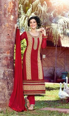 Look gorgeous wearing this red chiffon embroidered salwar dress. The ethnic butta, lace and resham work at the dress adds a sign of beauty statement with your look. #AmazingSequinsBorderWorkChuridarSuit