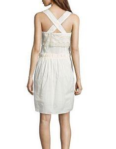 Vestido coral y blanco con encaje, de Hoss Intropia