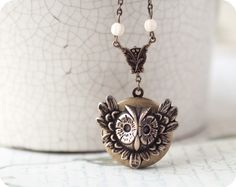 Owl jewelry  Owl locket  Bird jewelry  Steampunk by BeautySpot, $25.00