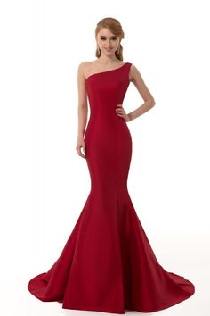 One Shoulder Red Satin Mermaid Evening Prom Dresses