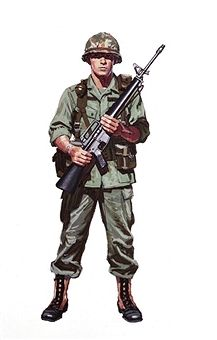 A painting depicting military uniforms worn and weapons used by U.S. Army soldiers during the Vietnam War circa 1968. Pin by Paolo Marzioli