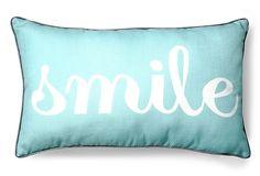 Smile 12x20 Pillow, Blue on OneKingsLane.com  Thro