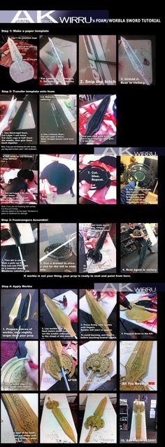 Foam and Worbla Sword Making DOUBLE TUTORIAL by AmenoKitarou.deviantart.com on @deviantART