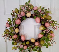 Wreaths For Door - Scavenger Hunt Spring Easter Wreath With Pastel Eggs, $62.99 (http://www.wreathsfordoor.com/scavenger-hunt-spring-easter-wreath-with-pastel-eggs/)