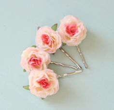 Pink rose hair clips Flower hair pin set Pink bridal от whichgoose