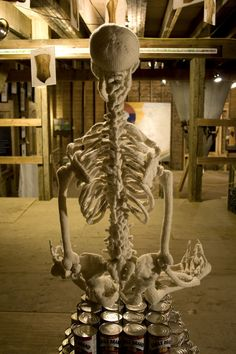 I LOVE this!  Knitted skeleton - in lotus position.  The photography is cool too!