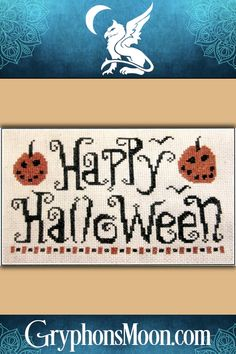 """""""Happy Halloween"""" Cross Stitch Pattern - Cute, quick, and easy. You'll have this adorable project finished in no time! The design requires only two colors of floss, and measures 99 stitches wide by 63 stitches high. Perfect for beginning stitchers. This is a pattern for counted cross stitch. It is not a complete kit. You must provide your own fabric and floss. #CrossStitch #CrossStitchPattern #CrossStitchDesign #XStitch #Halloween #Samhain #HalloweenCrossStitch"""