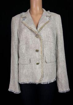 ESCADA Woven Jacket 44 L Large Cream Tan Silk Linen Fringe Work Wear Blazer #ESCADA #Blazer
