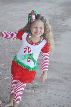 Girls Christmas Candy Cane Outfit, Toddler Christmas Outfit by babyOclothing on… Toddler Christmas Outfit, Girls Christmas Outfits, Christmas Baby, Christmas Shopping, Christmas Ideas, Candy Cane, Boutique Clothing, Christmas Sweaters, Little Girls