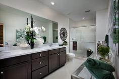 His and Hers bathroom vanities - LIKE IT, LOVE IT or GOT TO HAVE IT? Let us know!  Lennar | Ashton Parc | Coconut Creek | Bathroom Ideas | Bathroom Design | Home Design | Dark Cabinets | Master Bathroom