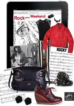 las rayas y las prendas con piezas en cuero, acentos vino tinto acompañados de accesorios con una influencia rockera fuertes en el 2013, Atrevete a hacerlos parte de tu closet.  Los zapatos, las chaqueta y el bolso puedes encontrarlos en nuestras tiendas.