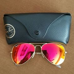 Authentic polarized RAY BAN aviator sunglasses Red tinted aviator Ray Ban polarized sunglasses! Theyve been worn, but Ive taken great care of them. Only a small, barely noticeable scratch on the right lens. (Youre really going to end to look for it. Comes with original case! Ray-Ban Accessories Sunglasses