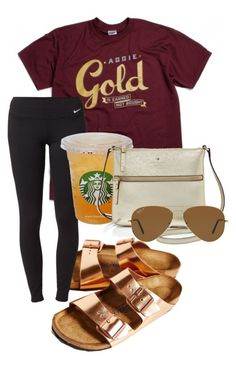 """""""aggie gold"""" by sofiaestrada ❤ liked on Polyvore featuring Birkenstock, NIKE, Kate Spade and Ray-Ban"""