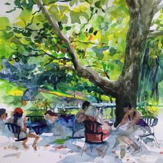 Left Hand Drawing in the Heat of NYC, looking for shade... #centralpark #NYC #NewYorkCity #tree #shade #cafe #people #heat #melting #summertime #heat #usk #urbansketch #urbansketchers #leaves #watercolor #lefthand #light #sun #boats #hotday #idrawamerica
