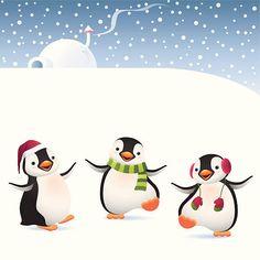 Winter Penguins vector art illustration