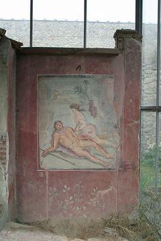 Pyramus and Thisbe, House of Loreius Tiburtinus, Pompeii, province of Naples, Campania region Italy .