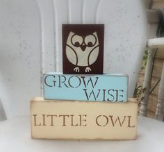 http://www.etsy.com/listing/97072124/n-u-r-s-e-r-y-owl-blocks-customize Visit & Like our Facebook page: https://www.facebook.com/pages/Rustic-Farmhouse-Decor